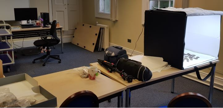 A picture of a room set up for cataloguing