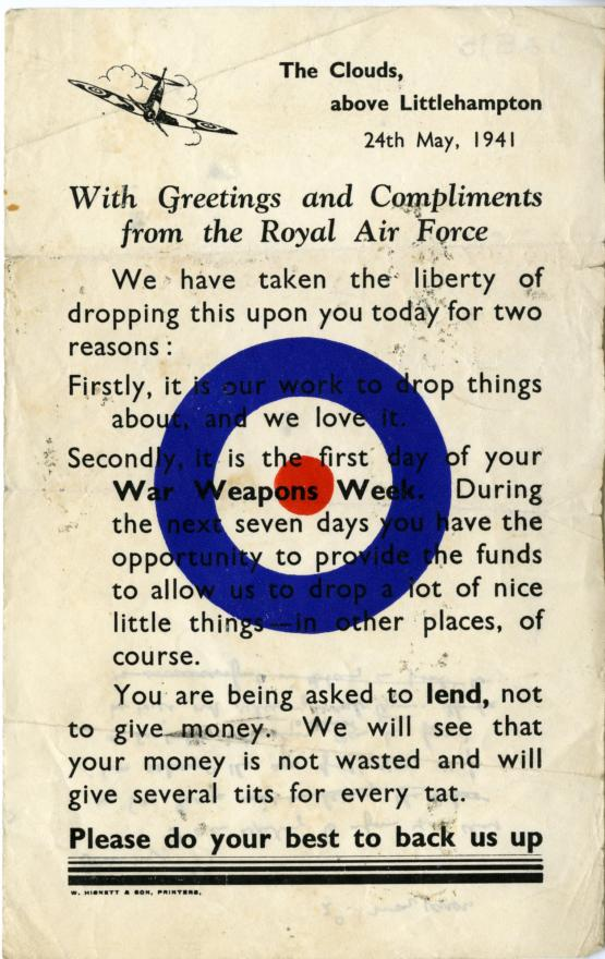 A leaflet with an image of a plane and the RAF symbol as well as text asking for donations for war weapons week 1941