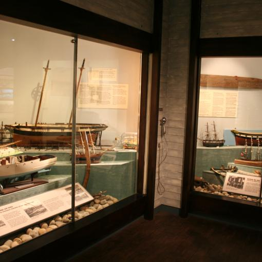 The Maritime gallery in the Museum. two cases containing ship memorabelia
